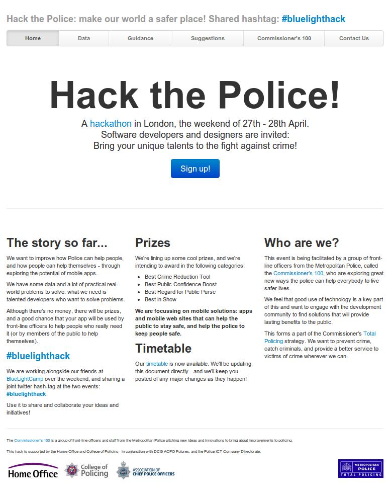 Hack the Police website screenshot