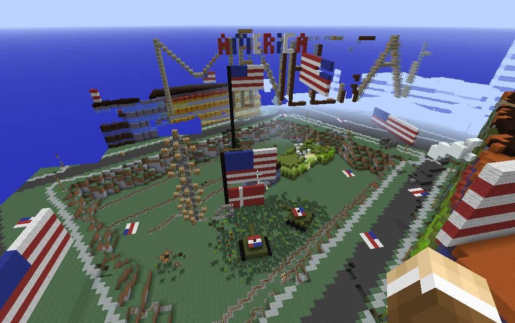 Screen capture, Minecraft, Denmark after American invasion (2014)