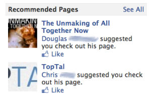 Facebook's recommended pages