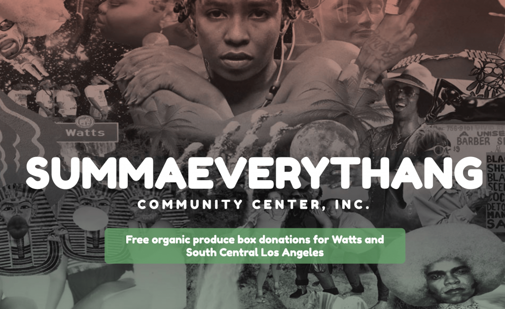 : collage of photographs from South LA with SUMMAEVERYTHANG logo on top. White text on green button reads: Free organic produce box donations of Watts and South Central Los Angeles