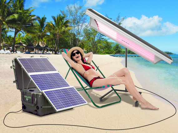 mobile SOLAR powered tanning canopy for Outdoors