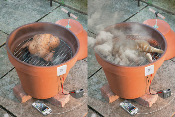 meat smoker OR organic post death pet cremation machine (natural honor remembrance) and thermoelectric PHONE CHARGER from meat heat