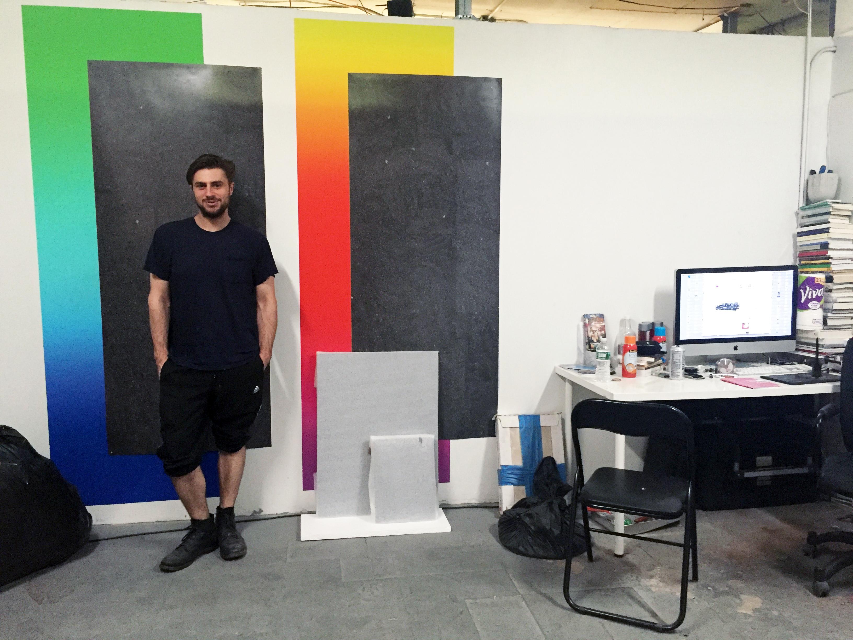 Joshua in his studio, photo: Nadine Roestenburg