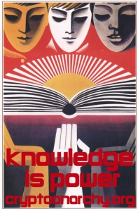 """Knowledge is Power"" promotional poster by CryptoParty"