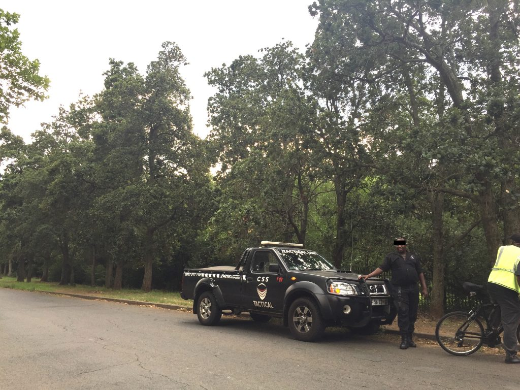 Security in Johannesburg neighbourhood